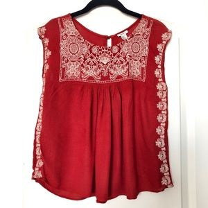 red embroided flower top